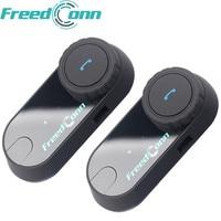 New!! 2pcs FreedConn Motorcycle Intercom Bluetooth Helmet Headset T COM FM 2 Riders BT Interphone Moto Intercomunicador+Soft Mic