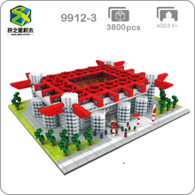2019 International AC Milan Football Club San Siro Meazza Stadium 3D Model Mini Diamon Building Blocks Toy Collection