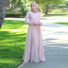 Pink Muslim Evening Dresses 2017 Beaded Turkish Hijab Formal Dress Abiye Dubai Prom Party Gowns Islamic Women Vestido Longo