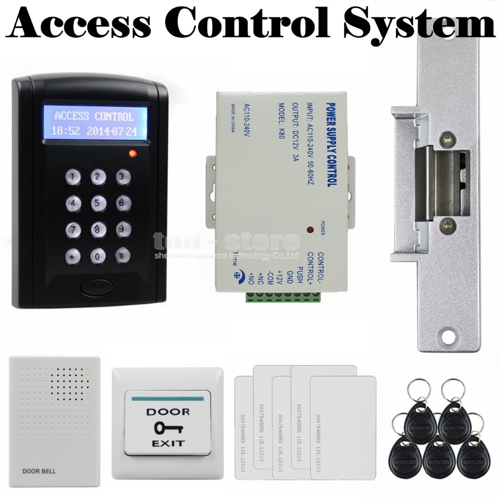 DIYSECUR Door Bell Strike Lock LCD 125KHz RFID Reader Password Keypad Access Control Door Lock System Kit Security System diysecur rfid keypad door access control security system kit electronic door lock for home office b100