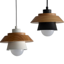 ФОТО Single-head Nordic Simple Pendant Light Bedroom bedside wood iron light creative personality bar restaurant lighting fixture