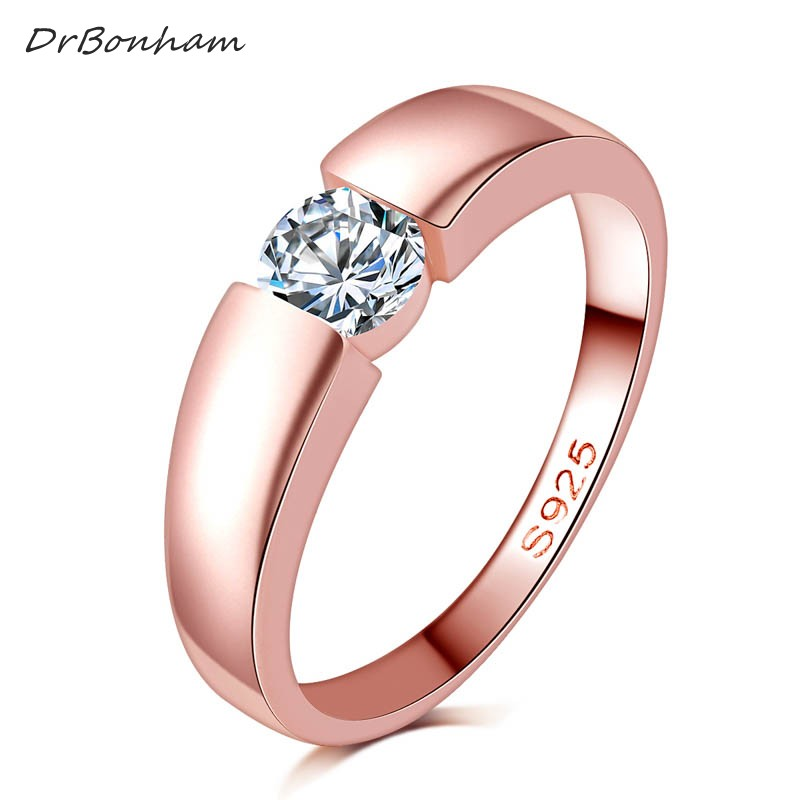 free shipping high quality rose gold filled zircon stone rings Top Design engagement Band lovers ...