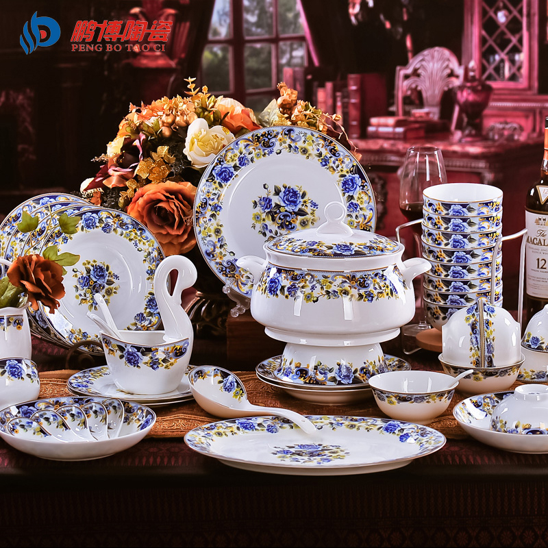 antique retro 56 pieces set bone china porcelain dinnerware sets royal blue enchantress ceramic. Black Bedroom Furniture Sets. Home Design Ideas