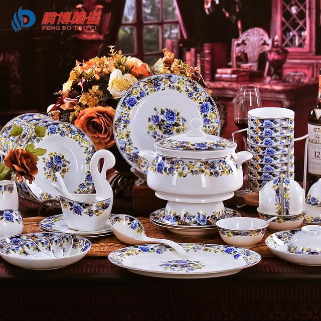 Antique Retro 56 Pieces/Set Bone China Porcelain Dinnerware Sets Royal Blue Enchantress Ceramic Dining & Antique Retro 56 Pieces/Set Bone China Porcelain Dinnerware Sets ...