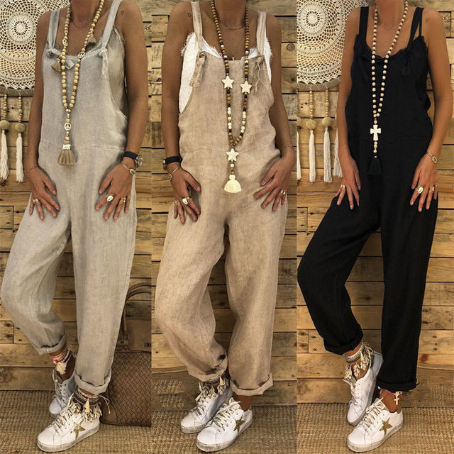 8a46f3e9dd2a Women s Casual Loose Bib Baggy Overalls Solid Pants Long Tank Suspender  Trousers Jumpsuit