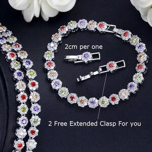 Image 4 - CWWZircons 3 個 Cz グリーンクリスタルブレスレットのネックレスとイヤリングセット高級女性ウェディングアクセサリー花嫁ジュエリーセット T030