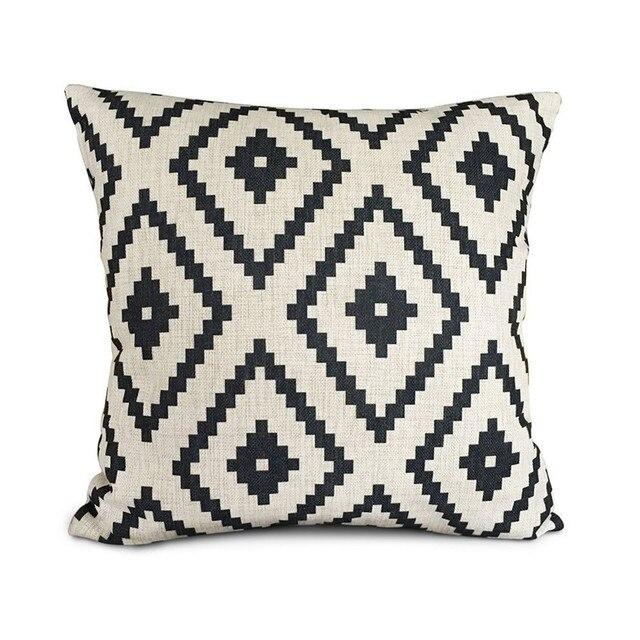 Top venta personalizada geometría patrón impreso lino Almohada ...