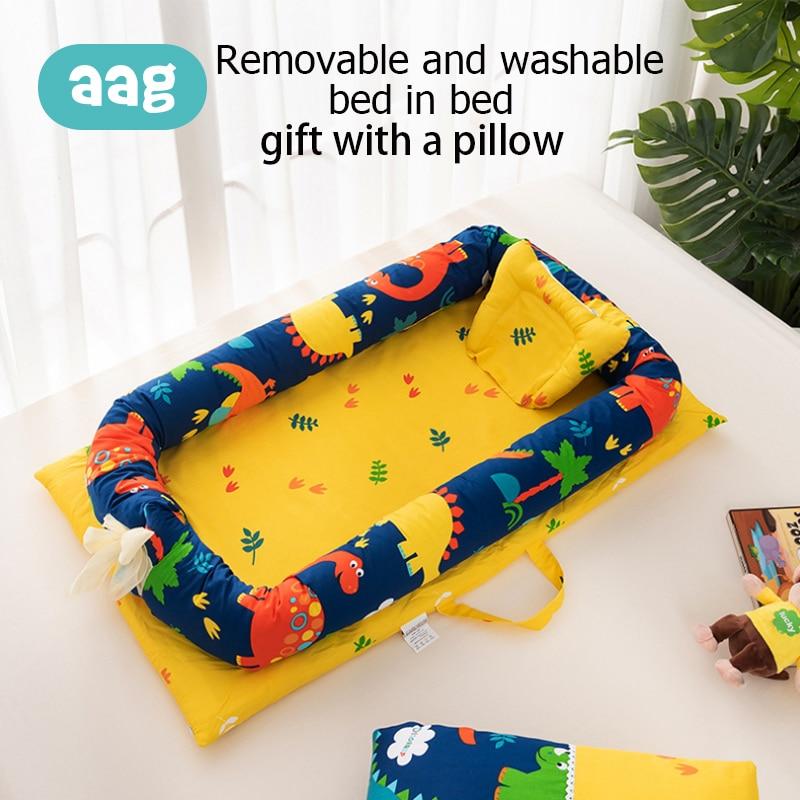 AAG coton bébé nid lit berceau Portable détachable pliable Zipper nouveau-né voyage lit berceau Imitation utérus dessin animé berceau lit