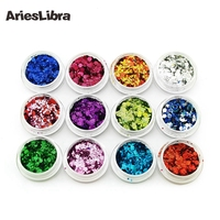 KEOLA 12pots Set Fashion Design 12 ColorS Nail Glitter Powder Dust 3D Nail Art Decoration Nail