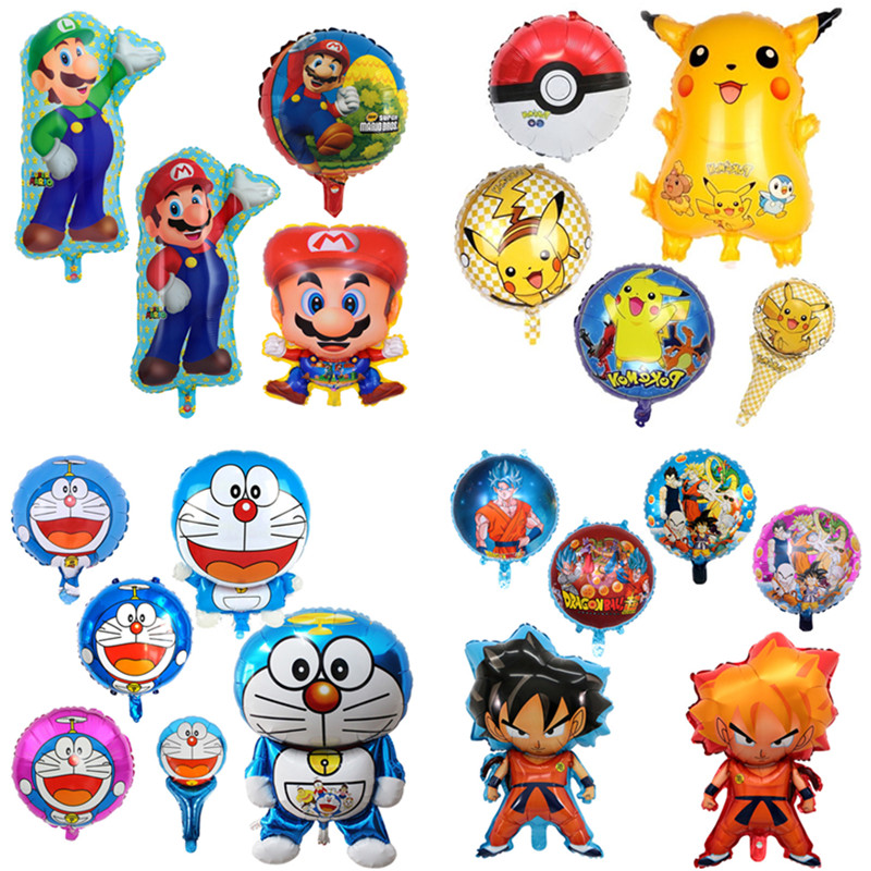 1Pc Super Mario&Pikachu&Doraemon&Dragon Ball Balloons