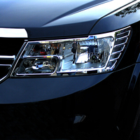 Voor Dodge Journey 2014-2018 Abs Chrome Voor Head Light Lamp Frame Decoratie Cover Trim Auto Accessoires
