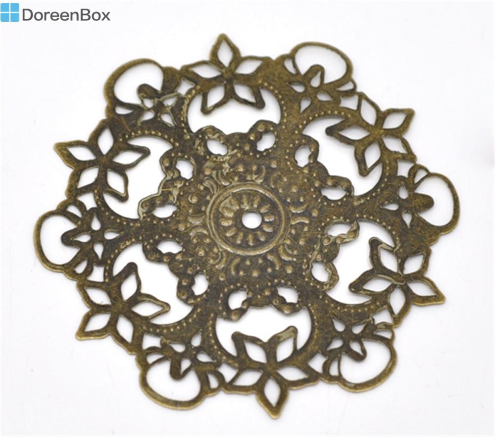 Linda Caixa de Doreen 20 Tom Bronze Filigrana Flor Wraps Conectores 55mm (B14284)