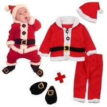Christmas Santa Dress Up 4pcs Baby Set Baby Girls Boy Clothes Infant Newborn Long Sleeve Coat+Hat+ Long Pants+sock Clothing Sets