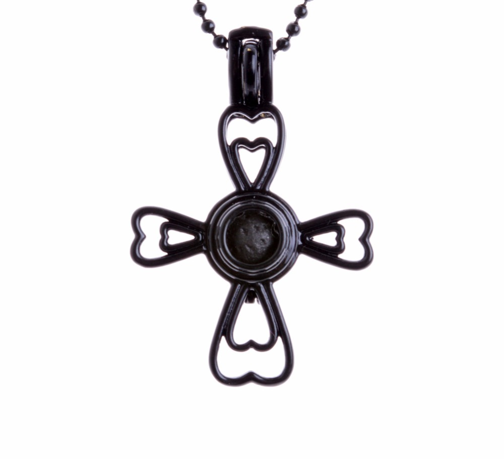 New Black Paint Gothic Style Cross Shape Essential Oil Diffuser Locket Pendant Necklace Lava Stone Ball Chain In Pendant Necklaces From Jewelry