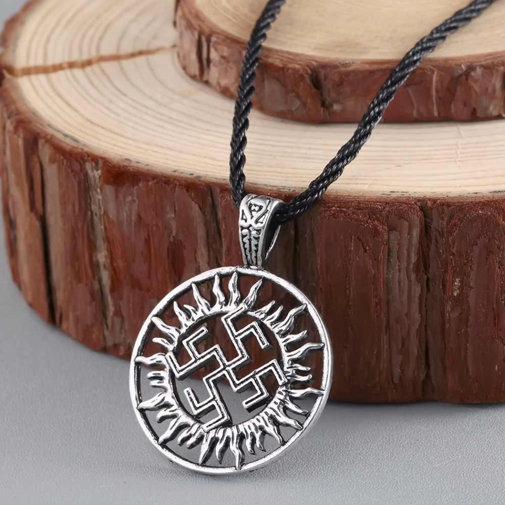 CHENGXUN Viking słoneczny Amulet naszyjnik Alatyr gwiazda biżuteria słowiańska słońce Symbol talizman wisiorek germańskie pogański mężczyzn naszyjnik