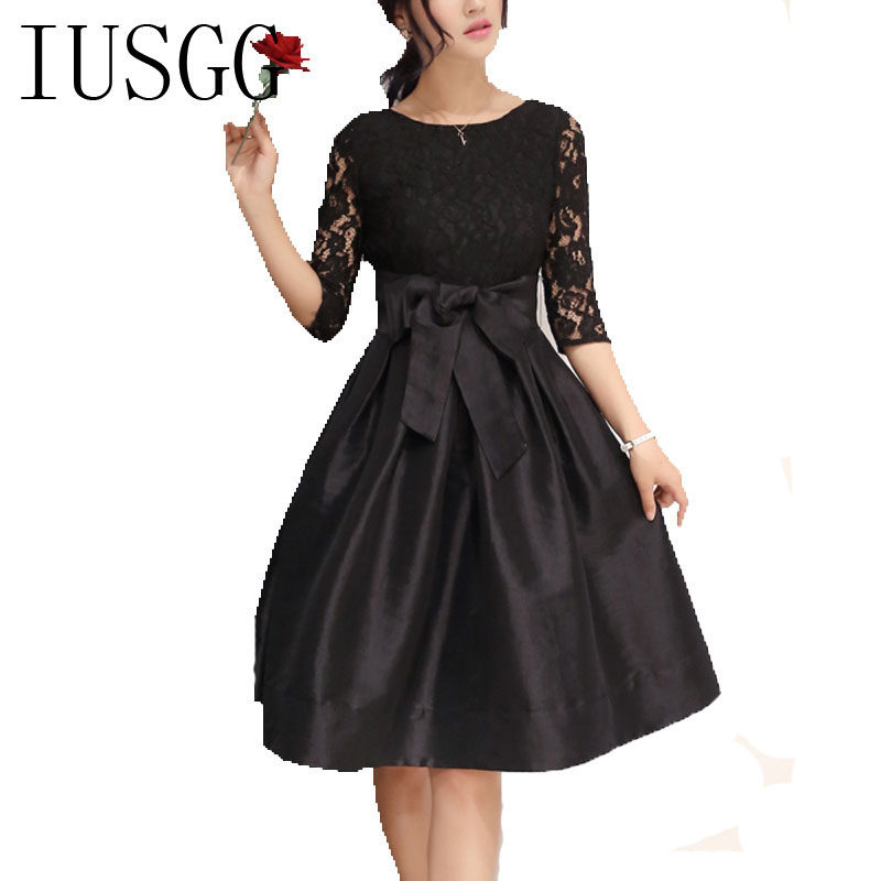 Women Elegant Lace Dress Vintage Fit and Flare Party Black Red Lace Dresses  Ladies Three Quarter Club A-Line Ruffle Tunic Dress d0c7cb737563