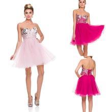 2016 New Sexy Pink Crystal font b Cocktail b font font b Dresses b font A
