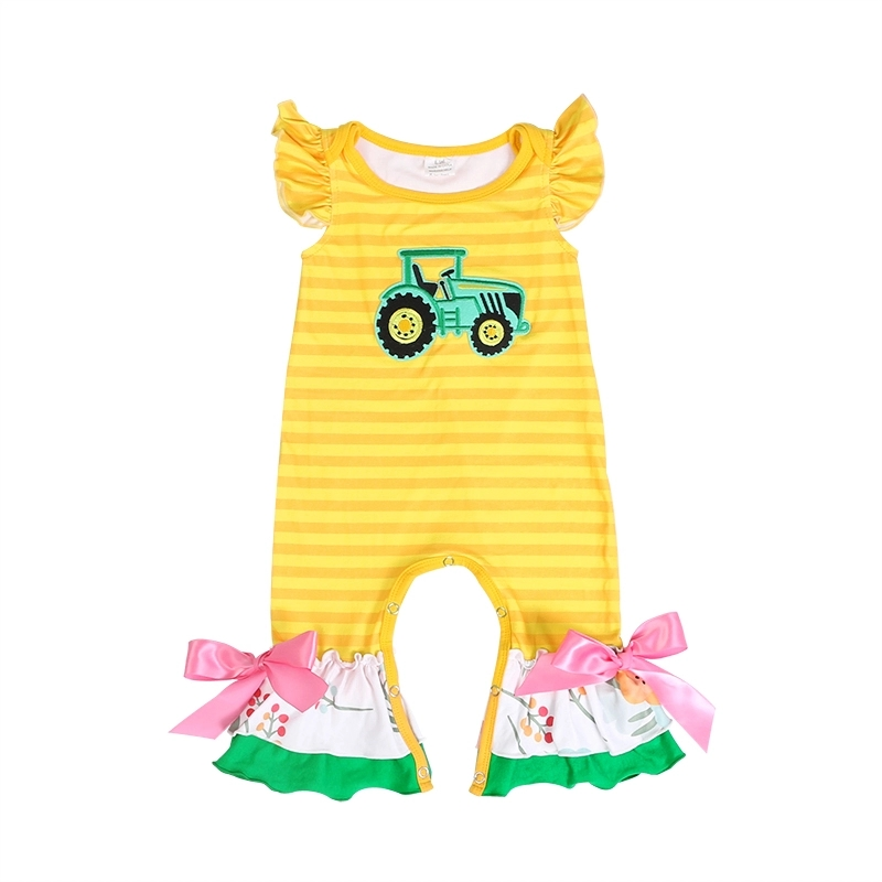 Boutique New Born Baby Clothes Summer Girl Ruffle   Romper   Yellow Stripe Puff Sleeve Tractor Jumpsuit Baby Onesie Newborn Costume