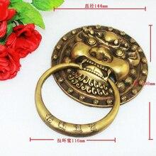 Bronze Antique Chinese lion head door handle knocker (Sizes:144mm * 198mm)