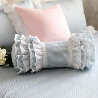 New classic blue plaid decorative pillow European style embroidered candy cushion princess ruffle pillows ( include filler)