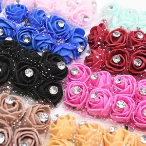 New 17 Color Diamond Artificial Flowers Decoration PE Foamirana Teddy Bear Fake Rose Flower for Wedding Home Flower Decoration