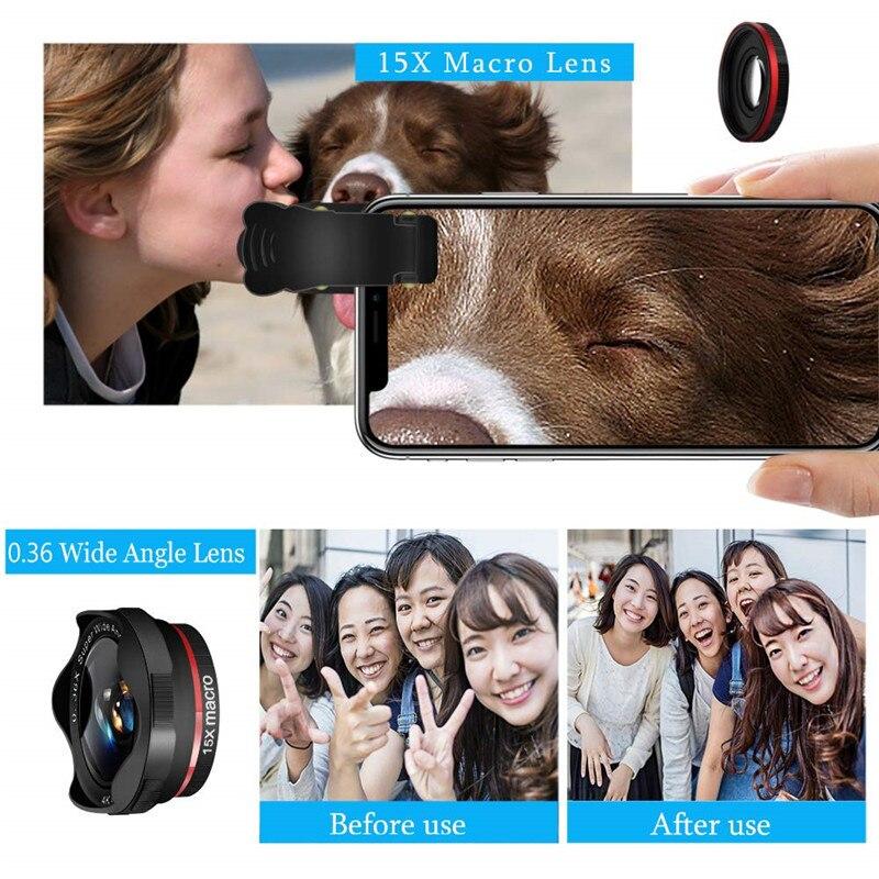 Fotos de la cámara del teléfono con lente DSLR: teleobjetivo con Zoom 12X + gran angular 0,36x + lente Super ojo de pez + lente Macro 15X (2 uds) para iphone Android - 4