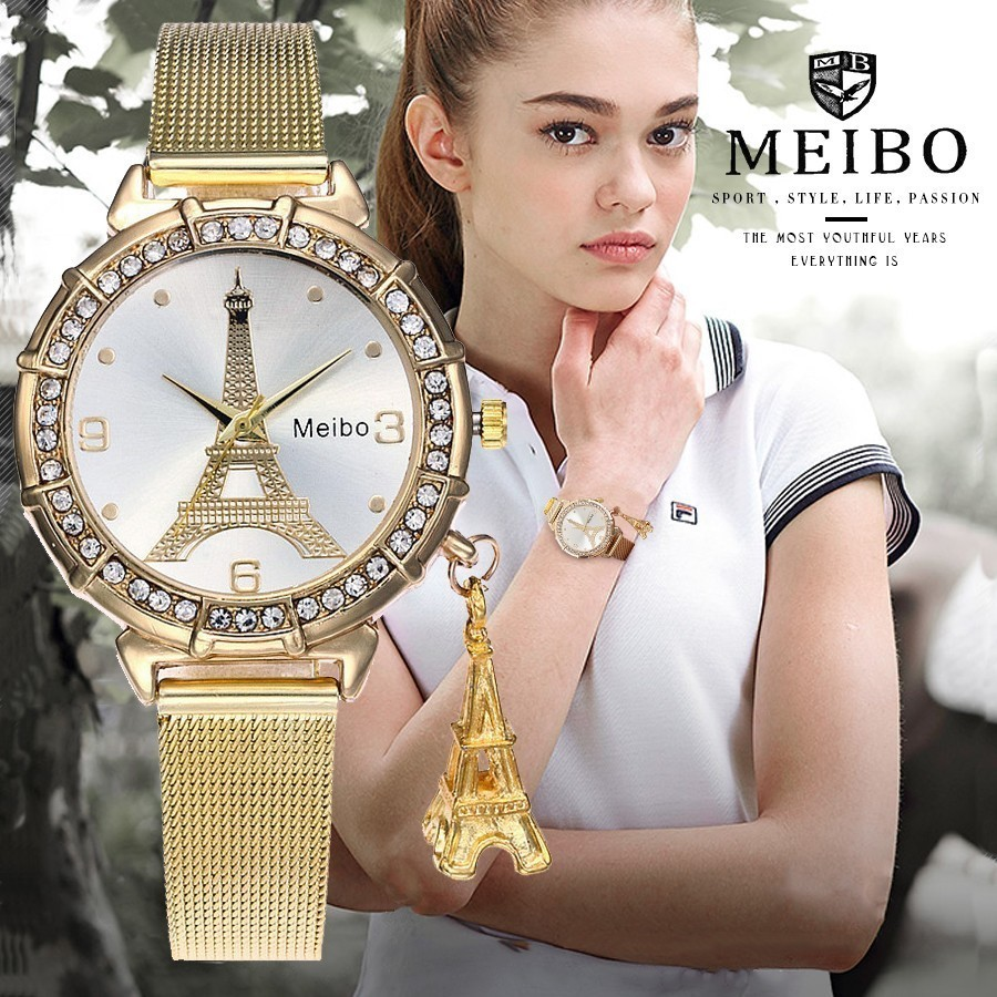 MEIBO Brand Fashion Silver Gold Mesh Band Eiffel Tower Watches Casual Women Metal Stainless Steel Tower Pendant Quartz Watches eiffel tower style stainless steel bottle opener silver