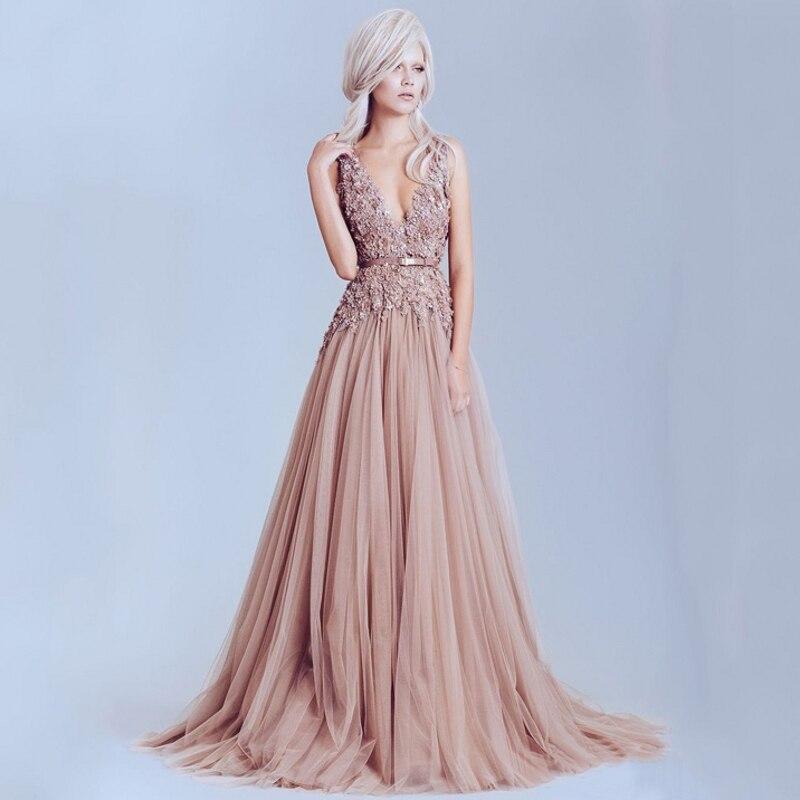 Dusty Pink Vintage Lace Elegant Long Pearls Backless Prom Formal Evening Gown Vestido De Festa Mother Of The Bride Dresses