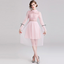 ARiby 2019 New Fashion Women Dress Sweet Lace Bow Solid Pleated Hollowed Out The Net Yarn Splice Trumpet Sleeve Fairy Dress exaggerate bow detail trumpet sleeve dress