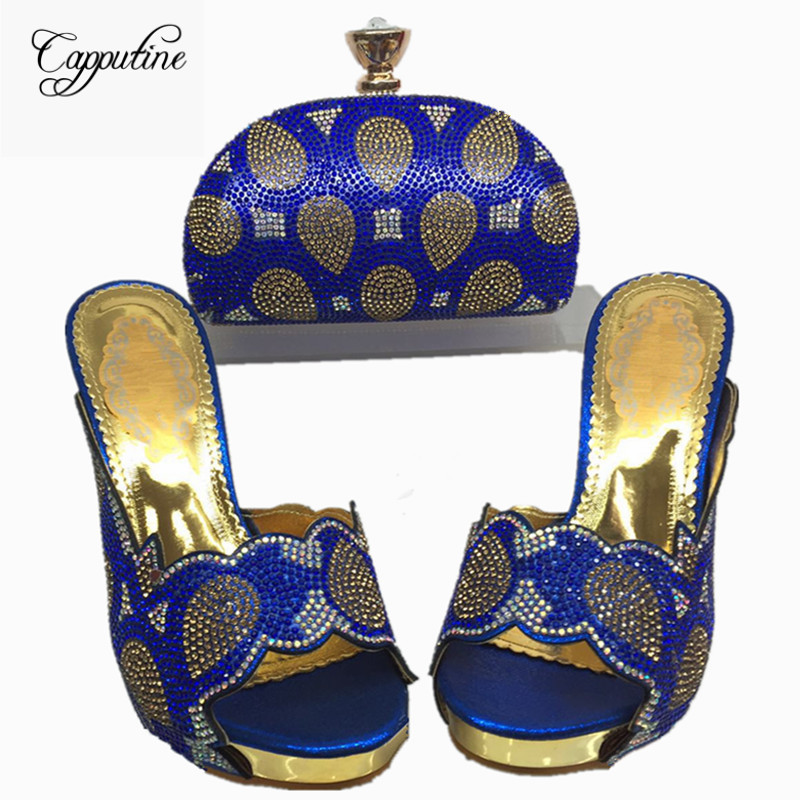 Capputine 2017 African Rhinestone Woman Shoes And Bag Set Summer Style Heels Shoes And Purse Set For Party Size 38-42