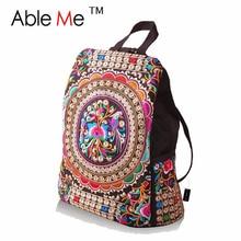 AbleMe 2017 Этническая Холст Вышивка Рюкзак Женщин Дорожные Сумки Девушки Школа Стильный Цветок Вышитые Рюкзак Для Женщин