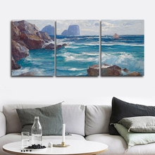 Laeacco Canvas Calligraphy Painting Abstract Posters and Prints 3 Panel Wall Art Seaside Nordic Home Living Room Decor