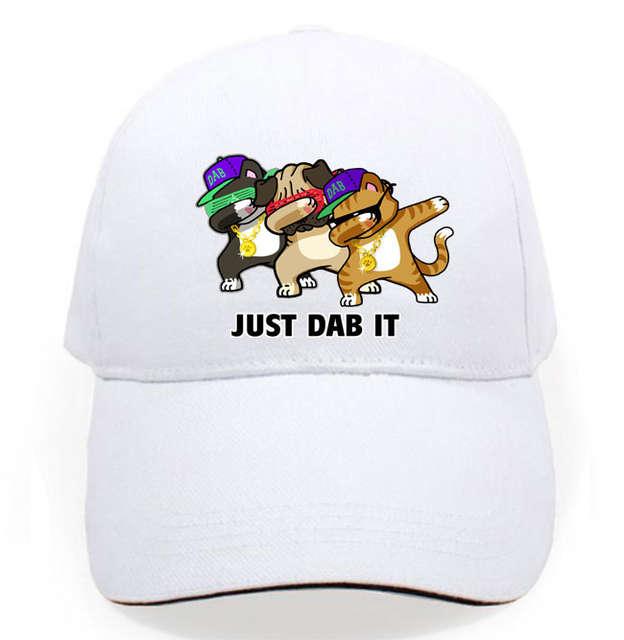 78938d70812 fashion funny dog cat just dab it dance team baseball cotton Men women cap  Snapback hat