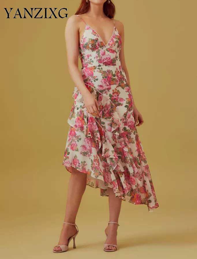 Women Dresses Retro Print Dresses Deep V Neck Sleeveless Long Dress High Waist Slim Irregular Floral