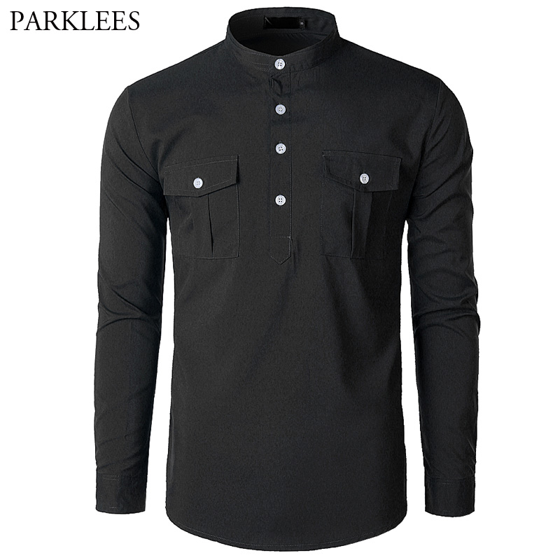 Autumn Black   Polo   Shirt Men 2018 New 4 Button Stand Collar Pocket Mens   Polo   Homme Slim Fit Long Sleeve Camisa   Polo   Masculina XL