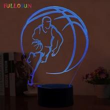 7 Colors Basketball Lamp USB 3D Night Light LED Kids Room Decorative Lamp as Novelty Gift 3D Lights funny 3d led little racoon night lamp led usb power table lamp as kids room sleeping lights