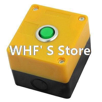 Green Light SPDT Locking Rectangle Push Button Control Station Box AC 220V 5A