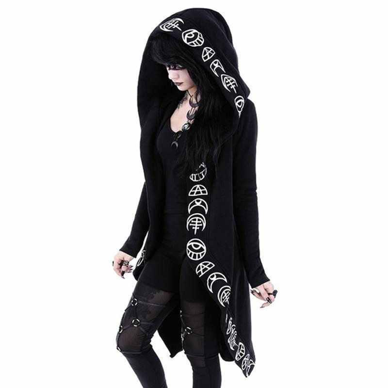2020 Gothic Casual cappotti Freddo Chic Nero Più Le Donne di Formato Felpe Allentato Zip Up Con Cappuccio In Cotone Tinta Unita Stampa Punk Femminile felpe