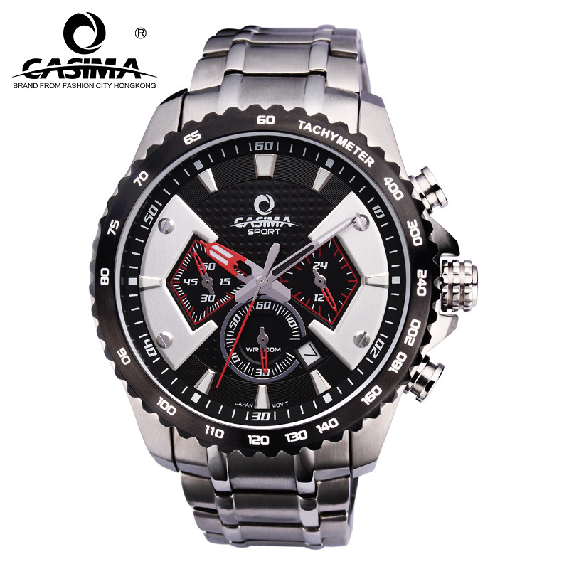 New Fashion Men Multi-function Quartz Watch Stainless Steel Band Waterproof Wristwatch Sport Clocks LXH iw 8758g 3 men s and women s quartz watch fabric classic canterbury stainless steel watch with multi color striped band
