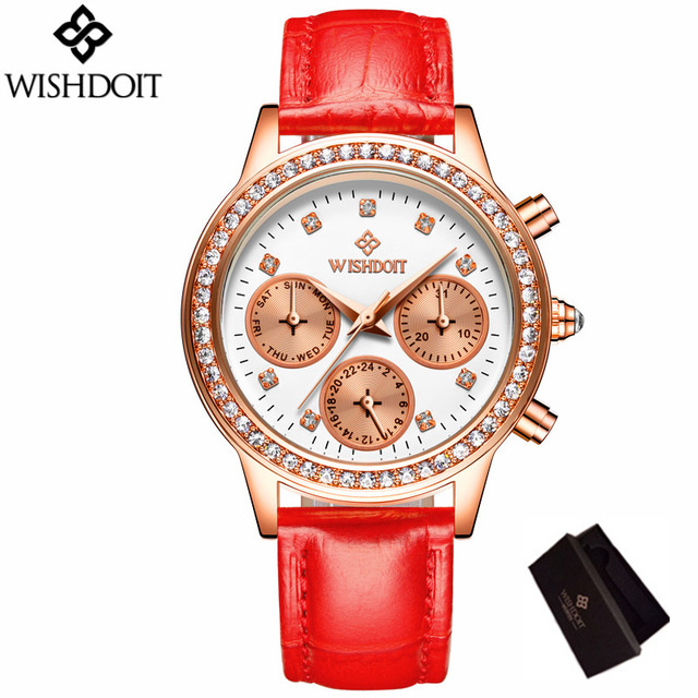 Relogio Feminino Women Watches WISHDOIT New Luxury Brand Girl High Qality Quartz Watch Leather Ladies Dress Wristwatch Clock megir brand luxury women watches fashion quartz ladies watch sport relogio feminino clock wristwatch for lovers girl friend