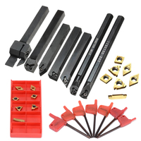 7pcs 10mm Tool Holder Boring Bar 7pcs Golden Inserts With 7pcs Wrenches For Lathe Turning Tool