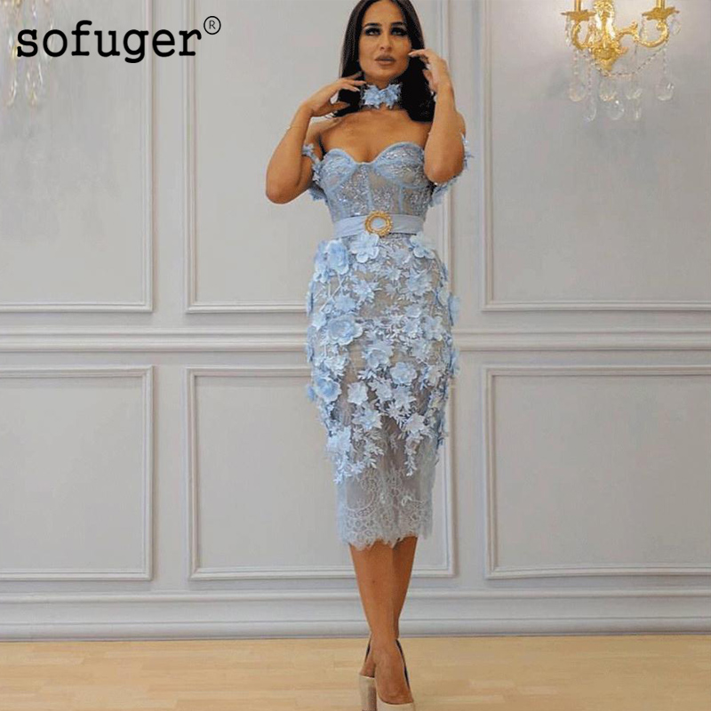 SOFUGE High Neck Lace Blue   Evening     Dresses   2019 Mermaid 3D Flowers Formal   Dresses   Vestido De Festa Sexy Formal   Dresses