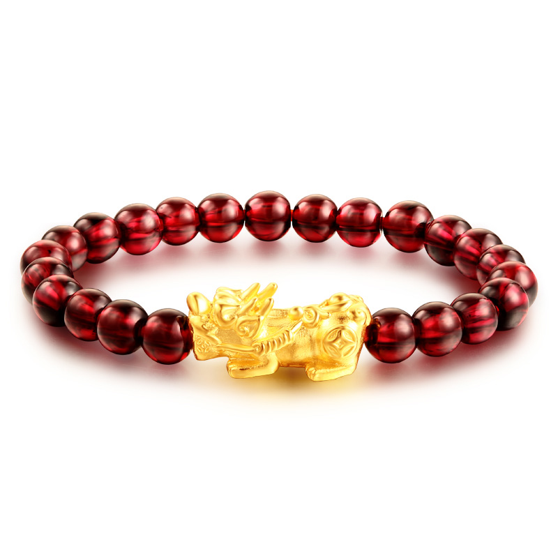 Pure 24K Yellow Gold Bracelet Garnet Bead Weave With Pixiu 6.7