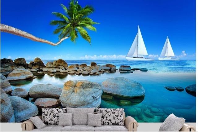3d Wallpaper Landscape Home Decoration Beach Boat Coconut Tree 3d