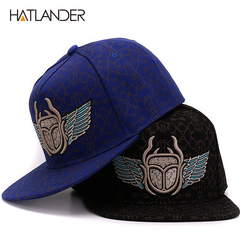 HATLANDER Cool flat briml baseball caps casual bones snapbacks cap casquette 3D embroidery hip hop hat and cap for men and wome