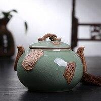 As You Wish Hot Top Grade Crackle Glaze Longquan Celadon Ceramics Capacity Eco Friendly Tea Caddy