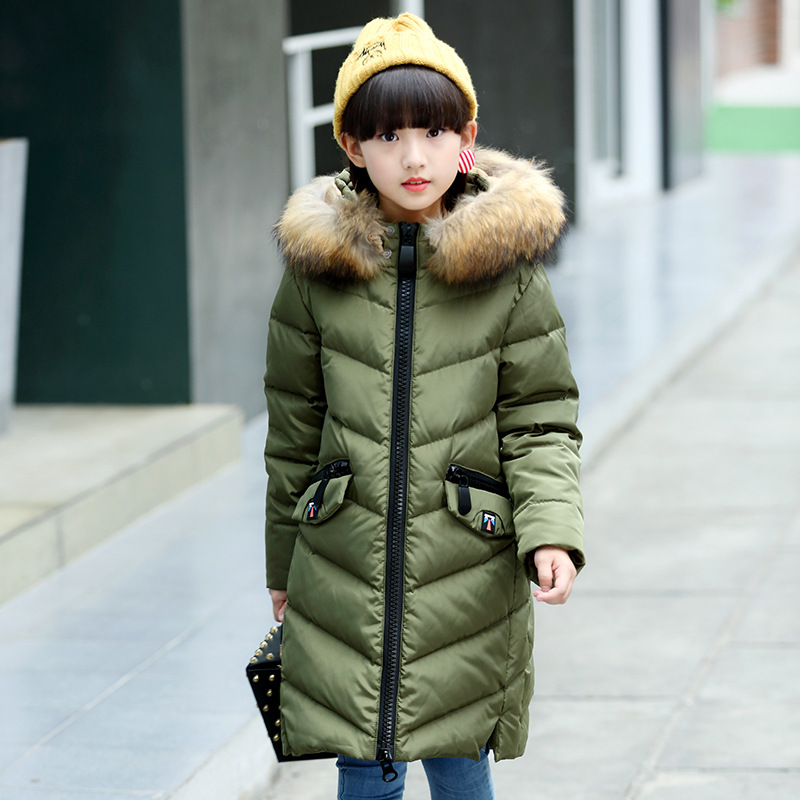 white duck down big girls winter coats size 14 8 10 6 fur hooded long winter jackets girls thick green pink red blue outerwear
