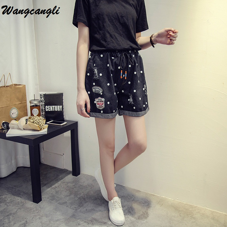 Wangcangli 2017 High Waist Printed Dots Blue Denim Shorts Fashion Brand Summer Women Pants Loose Short Casual female Black jeans
