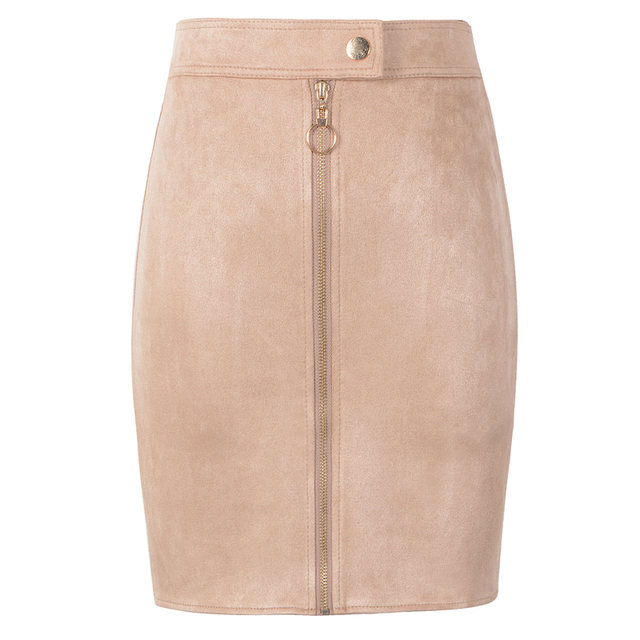 Neophil Women Suede Mini Pencil Skirts Female Vintage Style 2019 Winter Front Zipper Button Ladies Short Skirts Tutu Saia S1911