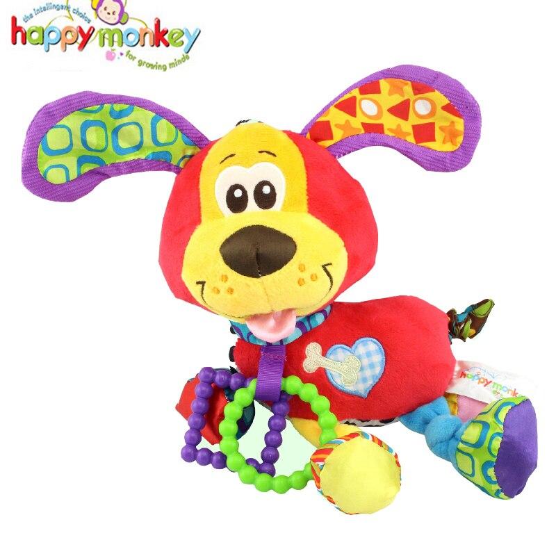 Младенческой животных мягкие погремушки кровать детская кроватка коляска Музыка висит колокол игрушка собака Kawaii Дети Мягкие Игрушечные лошадки для детей Куклы